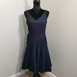 Ann Taylor Navy Blue Fit Flare V Neck Dress 2